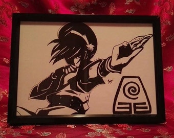 Toph Bei Fong from Aang The Last Airbender A4 Black and Wite (Print)