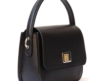 Saffiano Leather. Small Cross Body Black shoulder purse for to go out with your love, for the evening. Lightweight purse. Gift for teenager.