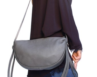 Leather Bag. Italian Handcrafted Grey Cross Body Hobo Bag shoulder purse for City Bag Office. Gift for wife anniversary, daughter. Ganza