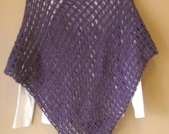Women's large lacy purple poncho, one size fits most poncho, crochet poncho
