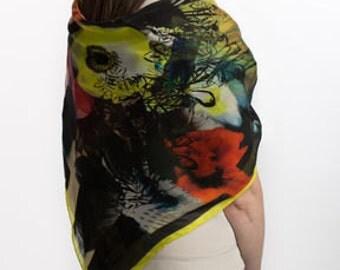 Silk scarf, Printed Scarf, Scarf Print, scarf shawl, designer silk scarf, scarves and shawls, neck scarf, square scarves, floral scarf