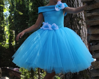 Blue Flower Girl Dress - Birthday Wedding Party Holiday Peasant Bridesmaid Tulle Blue Aquamarine Dress