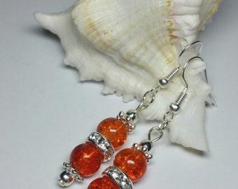 Orange Glass Beaded Earrings with Rhinestones , Silver Handmade Costume Jewellery , Casual Earrings for her
