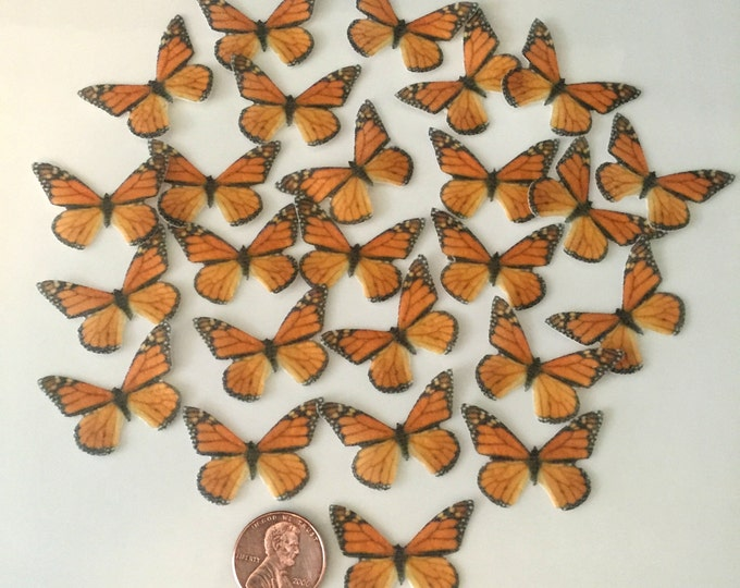 Edible Monarch Butterflies, Double-Sided Wafer Paper Small Monarch Butterflies for Cakes, Cupcakes or Cookies