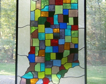 Stained glass panel, Indiana counties map, Hoosier state