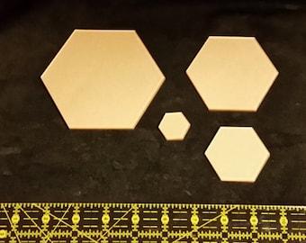 "Itajime Shibori Hexagon Templates 4"", 3"", 2"", 1"" - 8 piece set"