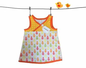 baby girl tunic dress, size 24 Months, 2 T, girl spring dress, pineapple dress, baby girl dress, summer dress, kids clothing, cotton dress