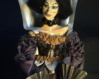 Lady M. handmade art doll,Mysterious Dolls by Alina W.