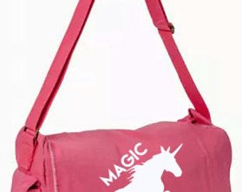 Magic Exists! Unicorn Messenger Bag, Hand Screen Printed Cotton Canvas Messenger Bag, Computer Bag,