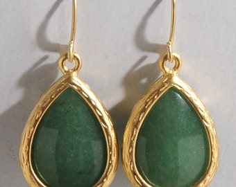 Green Aventurine Earrings Teardrop