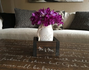 "Rustic Wedding Table, Rustic Table Centerpiece, Mason Jar Decor, Mason Jar Centerpieces, Wedding Table Decor ""Custom Planter Box Set"""