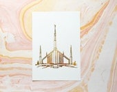 Illustrated Boise Idaho Temple Gold Foil Art Print