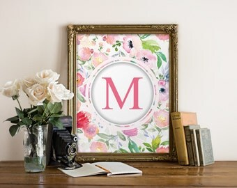 Monogram art wall hanging, Nursery print art, Monogram art print, Room decor, Baby girl nursery, Typography print, Nursery decor BD-932