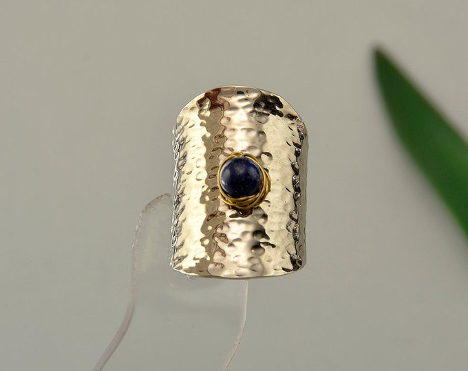 Featured listing image: Silver tone long ring, Navy blue stone ring, tall ring, tube band, lapis lazuli jewelry, hammered ring, ring on sale, mixed metals ring