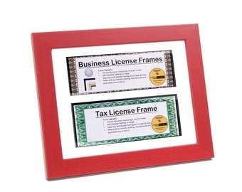 double red business license frames for professionals 85 by 11 inch frame w mat self standing easel back and hanger