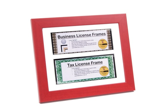 Double Red Business License Frames For Professionals 8 5