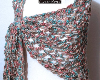 Openwork shawl wrap  in wool pastel colors hand-crocheted Valentines day wife gift girlfriend gift for woman
