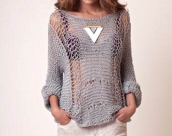 Cotton sweater, grunge clothing, gray slouchy jumper, womens loose knitwear, wool cotton spring hand knit blouse, hippie style, boho clothes