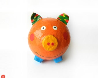 Pig money box,kids money box,kids room decor,home decor,paper mache,paper gifts,recycled art,eco friendly,ecological,kids birthday,kids gift