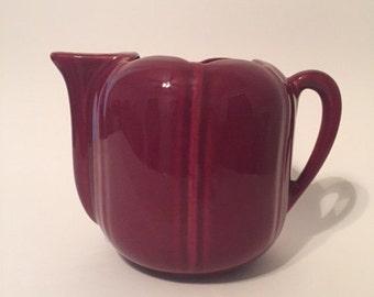 Vintage Maroon Ceramic Pitcher