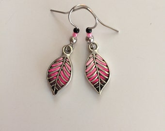 Black Pink Leaf Earrings