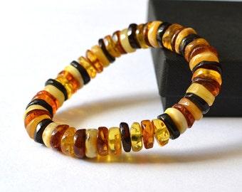 Natural Amber Bracelet / Baltic Amber Jewelry / Amber Beads/ Stretch Amber Bracelet / Transparent Amber