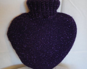 hot water bottle, heart shape hottie, OOAK purple hottie, purple heart hottie, gift for a loved one, heart warming gift, hot water bottle