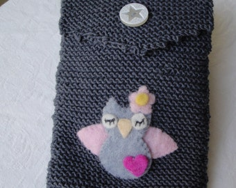 grey reader cosy, wool kindle cover, owl reader case, knitted reader cosy, funky e-reader case, owl gray kindle cosy, knit kindle cover