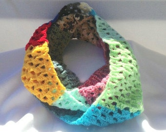 Multicolored granny square cowl, multicolred cowl, colorful cowl, crocheted cowl, handmade infinity scarf, crocheted infinity scarf, scarf