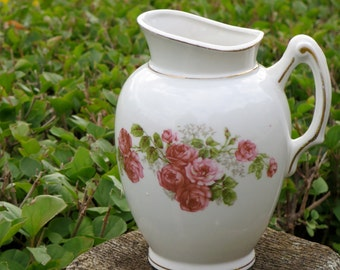 Vintage Ironstone Pitcher Creamer, Tea Party, Table Top Decor,  Antique Ironstone Bud Vase, Pencil Holder, Creamer, Gold Trimmed, Pink Roses