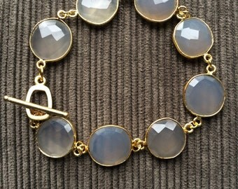 Gold and Grey Chalcedony Stone Bracelet