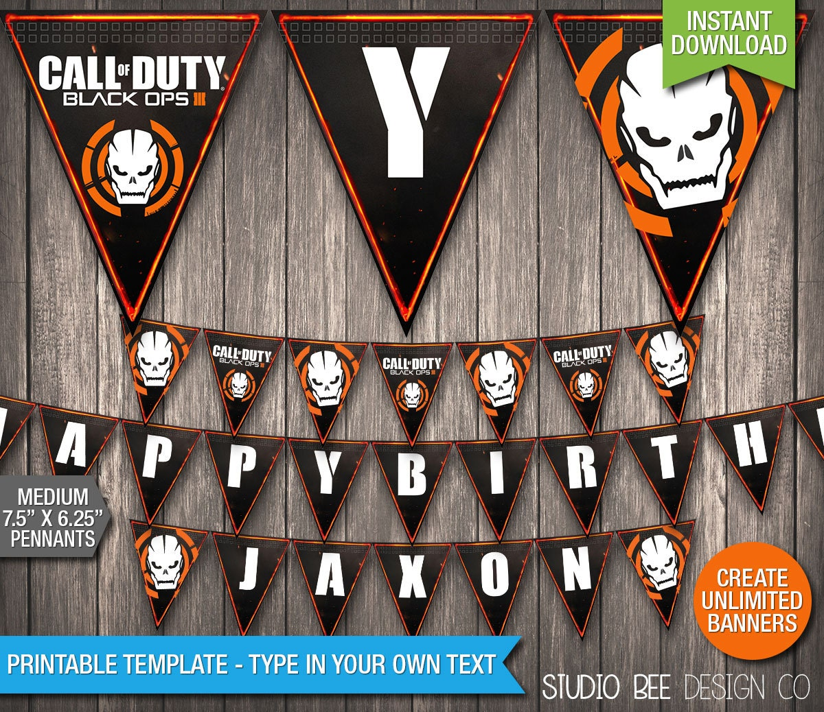Call Of Duty Black Ops 3 Banner INSTANT By StudioBeeDesignCo