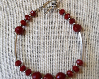 Red Crystal Bracelet, Red Crystal,  Red Bracelet, Crystal Bangle,Red Crystal Bracelet