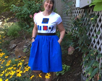 R2D2-inspired T-Shirt Dress for Women--sizes S, M, L, XL, and XXL
