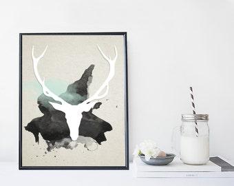 Deer art print, antlers art print, animal art print, modern illustration, home wall decor, scandinavian, animal art, deer wall art