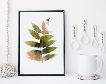 Leaf watercolor art print, botanical art print, watercolor leaf art, nature art print, minimal & simple illustration, home decor, gift