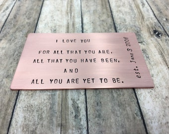 Hand stamped personalized Copper wallet insert -custom personalized engraved wallet credit card wedding fathers day 7th anniversary gift