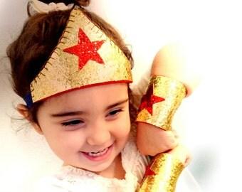 Wonder Woman Dress-up Tiara Headband,Belt and Cuffs