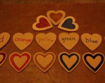 BIG, Montessori, valentines, color matching game