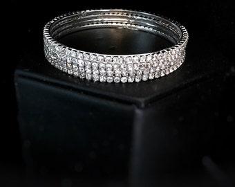 Fashion Jewelry: Lightweight Rhinestone Bangles, Set of 4, Silvertone, bangle size 2.8 (large), Gift, Bridal, Diwali