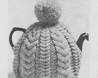 ALMOST FREE Instant PDF Download Vintage Row by Row Knitting Pattern for a Traditional Aran Inspired Country Cottage Style Teacosy Teacozy