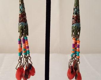 Women's Colorful Dangle Earrings - Red Earrings - Dangle Earrings - Bronze Earrings - Women's Colorful Earrings - Long Earrings - Colorful