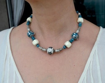 Aquamarine Necklace, Ceramic Beads Necklace, Blue Necklace, Silver Necklace, Tribal Gemstone Necklace, Boho Jewelry (212)