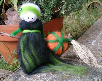 Pumpkin - wool felt witch