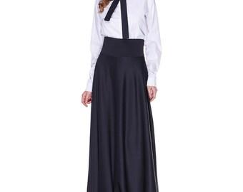 Formal Maxi skirt , Black Satin skirt, Evening flared floor length skirt.