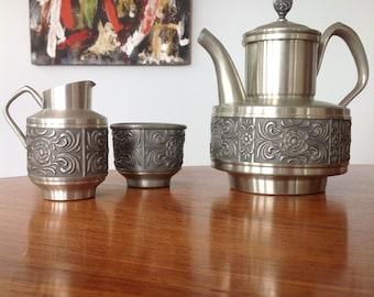 Pewter coffee set 'Selbu' Norway, floral pattern coffee pot, sugar bowl and creamer
