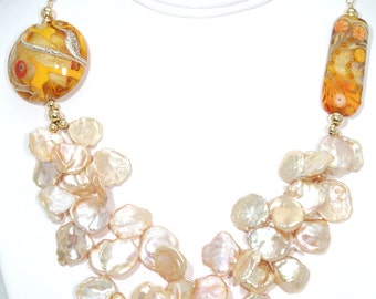 BN051- Two-strand pink/peach Keshi Pearl and Lampwork Glass necklace, and matching earrings set