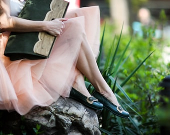 SALE, Boho Chic Shoes, Green Flats, Lace Clip Shoes, Rain Shoes, Woman Loafers, Fashion Shoes, Waterproof Shoes, Elegant Shoes, Hippie Shoes