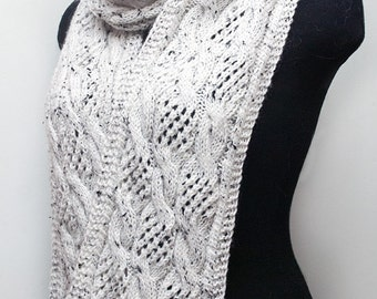 SALE Knitted white winter scarf, long knitted scarf, women's knitted scarf, woman cable scarf, knitted aran wrap