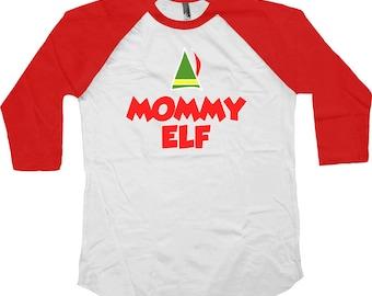 Family Christmas Gift Mommy Elf American Apparel Raglan Gifts For Xmas Presents For Christmas Xmas Gifts Holiday Present Baseball Tee -SA462
